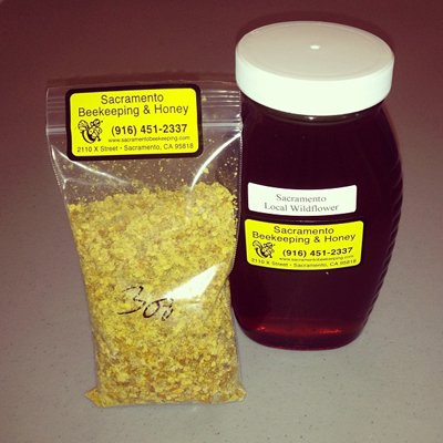 Honey and pollen from Sacramento Beekeeping