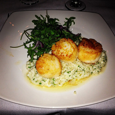 Seared Day Boat Scallop with meyer lemon risotto and arugula