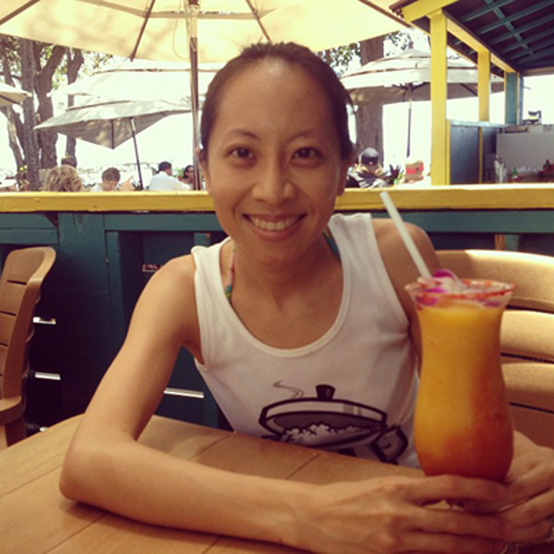 Me with a Sassy Wahine, a mango margarita with strawberry swirl and li hing mui rim