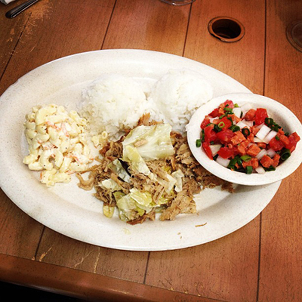 Kahlua Pork and Cabbage with rice, macaroni salad, and a side of Lomi Lomi Salmon