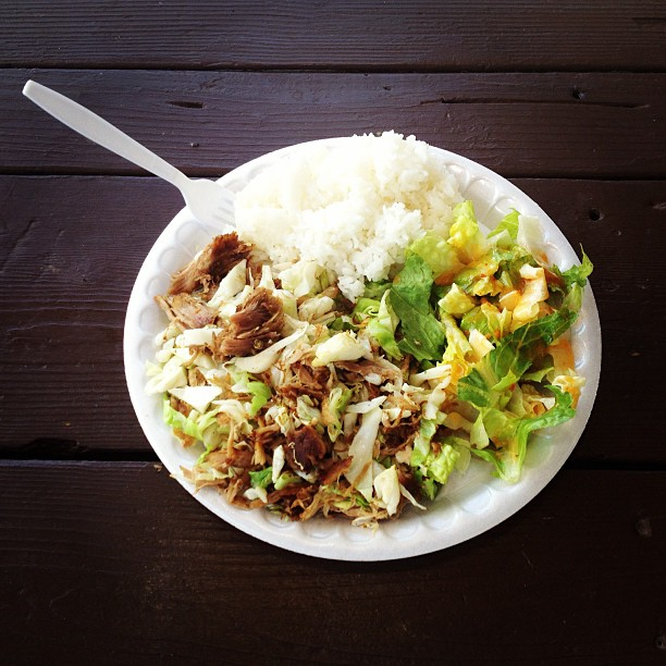 Kahlua Pork & Cabbage with rice and salad