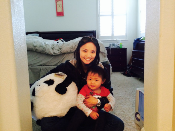 Auntie Ali (my sis) with Roxy and her squishable panda