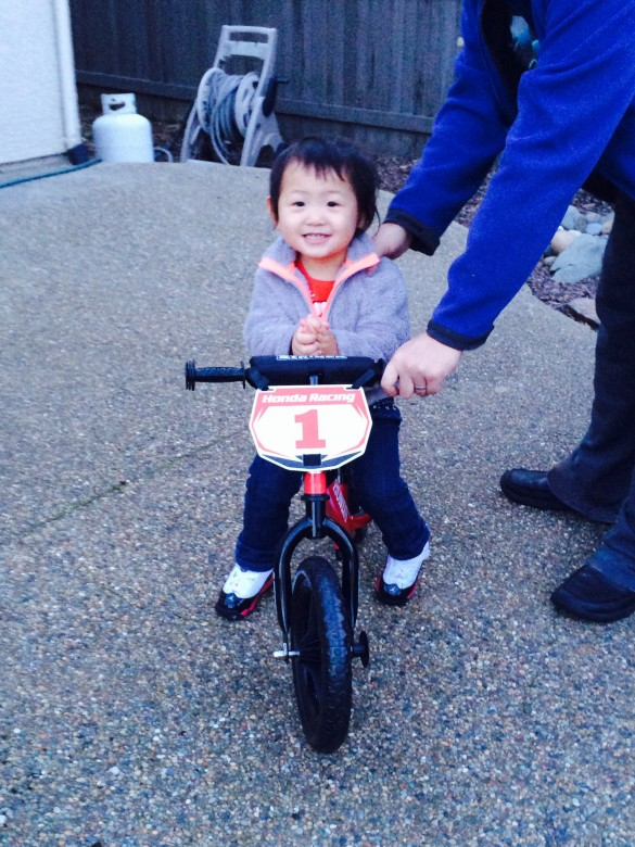 Roxy liked her birthday present, A Honda Strider Bike