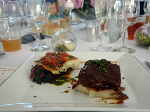 Chilean Sea Bass with Swiss Chard & Beef Short Ribs with Potato Au Gratin