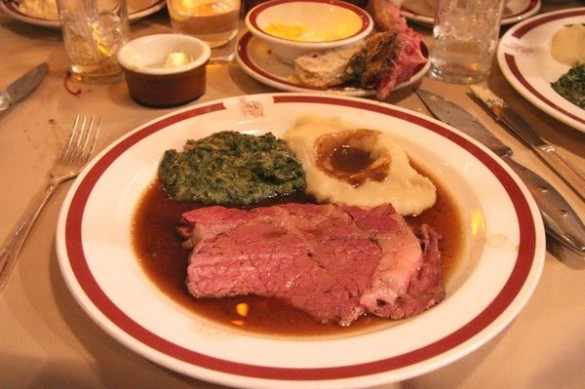 House of Prime Rib cut with mashed potatoes and creamed spinach