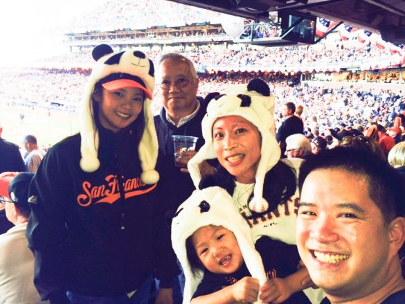 My Giants & panda loving family: Dad, my sister Ali, Roxy, Kenny, and me