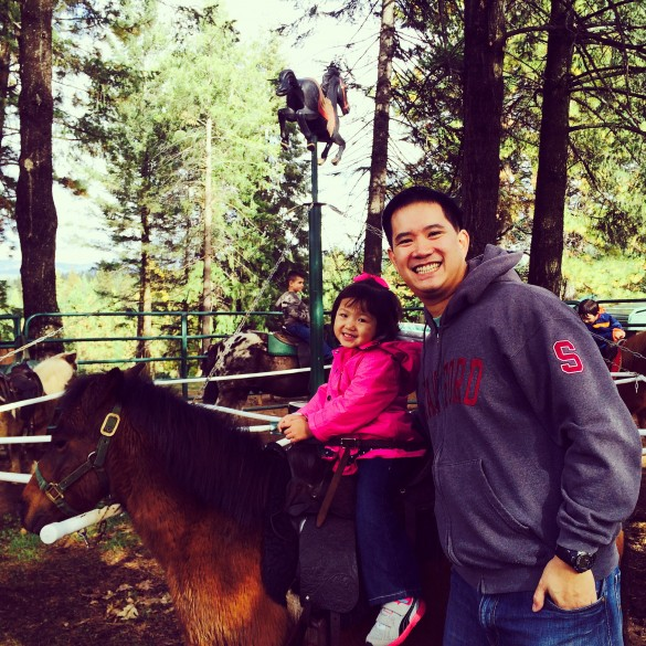 My 2 loves. Roxy enjoyed the pony ride at High Hill Ranch (Apple Hill).