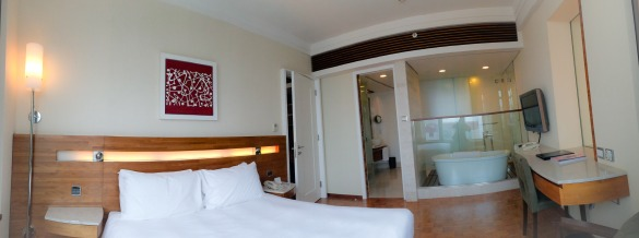 The bedroom of our hotel suite
