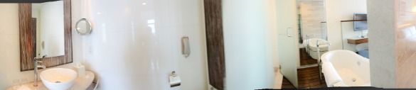 The bathroom of our hotel suite. There were actually 2 bathrooms!