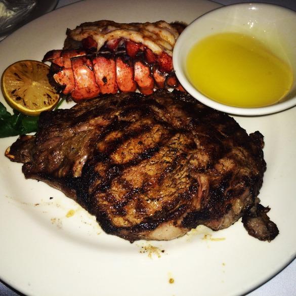 Cajun blackened ribeye & grilled Maine lobster tail from Morton's. My fav!