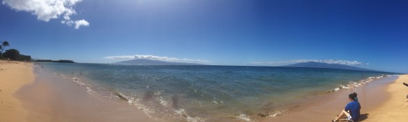 Breathtaking panoramic shot I took of Kenny & Roxy at Kaanapali Beach