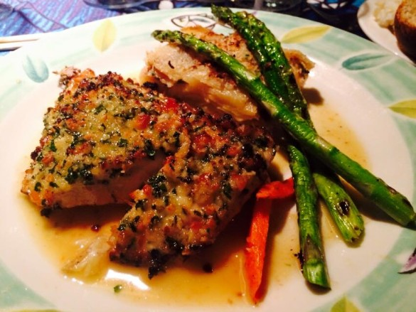 Onaga in white wine sauce with persimmon & passion fruit in a macadamia nut crust from Mama's Fish House