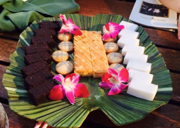Chocolate brownies, passion fruit cookies, lemon cake, and coconut jello from the Old Lahaina Luau