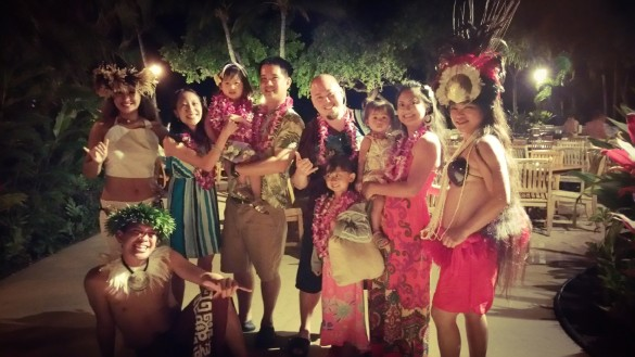 With the dancers from Old Lahaina Luau
