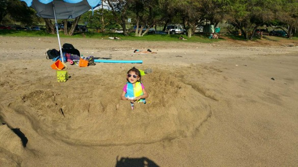 Roxy made her 1st sand castle