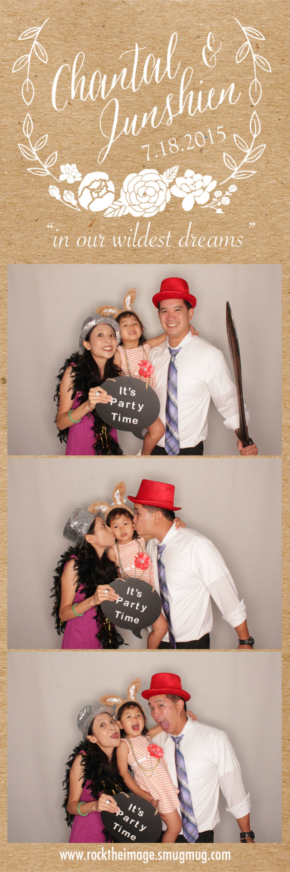 Photo booth pics at Junshien & Chantal's Wedding Credit: Rock the Image