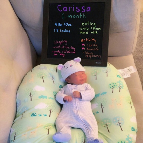 Carissa is 1 month old!