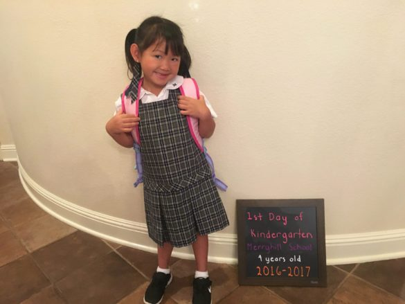 Roxy on her 1st day of Kindergarten at Merryhill School