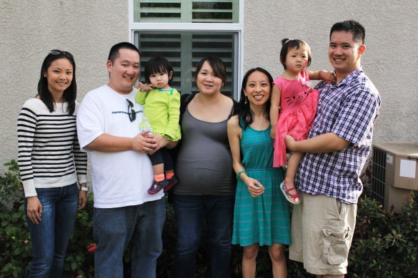 Kenny's brother Jason, our niece Noelle (Roxy's cousin), our sister-in-law Minna, me, Roxy, & Kenny at Roxy's birthday party