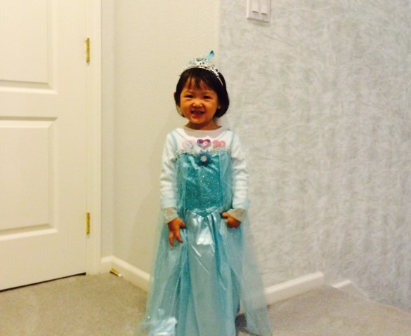 Roxy dressed as Elsa from Frozen on her 1st Halloween