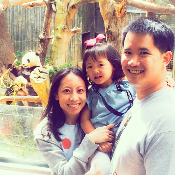 Me with my 2 loves and Xiao Liwu the panda at the San Diego Zoo