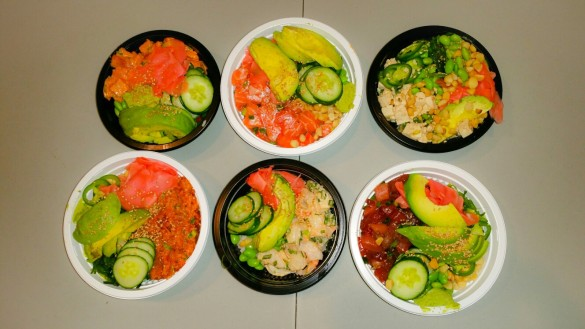 Regular Yellowtail Poke Bowl with Spicy Ono, Large Salmon Poke Bowl with Shoyu, Regular Tofu Bowl with Shoyu, Large Spicy Tuna Poke Bowl with Creamy Miso, Regular Shrimp Poke Bowl with Shoyu, Large Ahi Tuna Poke Bowl with Shoyu