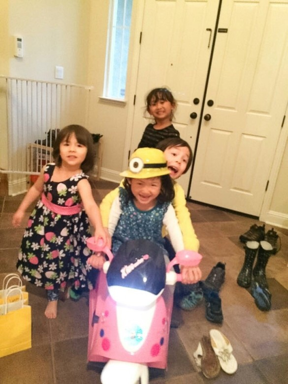 Roxy and friends trying out her new motorized scooter