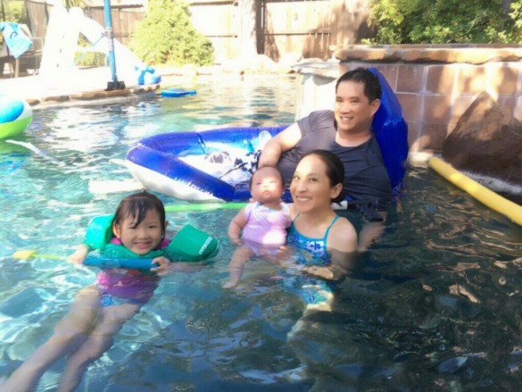 Carissa's 1st time in our pool