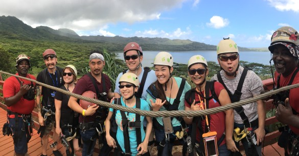 Our crew with Josiah, Lindsay, Bryson, Kenny, me, Merisa, Daisy, Simon, and our guide Chocolate on either end. Lol, Chocolate ran from the left side to the right side in this panoramic shot!