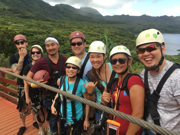 Another shot of us ziplining amidst the beautiful scenery of Kauai