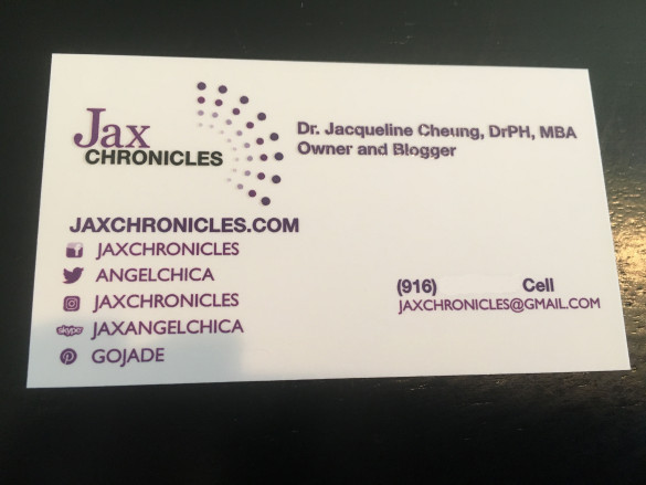 The front of my new Jax Chronicles business cards