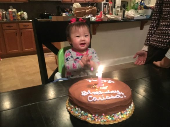 Carissa with her 1st birthday cake